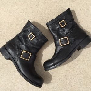 Jimmy Choo | black leather moto motorcycle boots